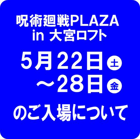 5月22日(土)~28日(金)のご入場について