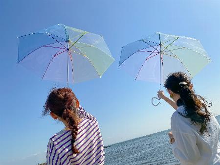 雨の日も楽しくなるカラフルなビニール傘